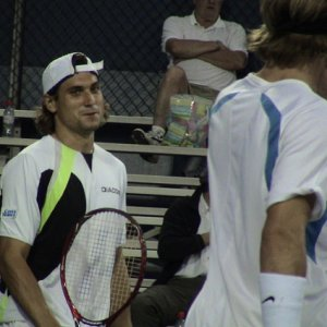 David Ferrer playing doubles with Fernando Vicente US Open 2006