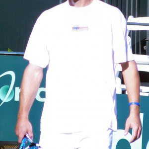 Sunday - Roddick Warms Up 2 Hours Before Match
