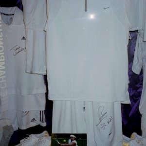 Display of Rafael Nadal's autographed outfit from The Championships 2005
