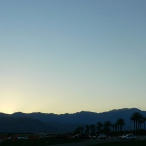 Sunset from the parking lot on our way out of IW ..... :(