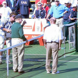 Friday - Rod Laver Does The Coin Toss Before Roddick/Pavel